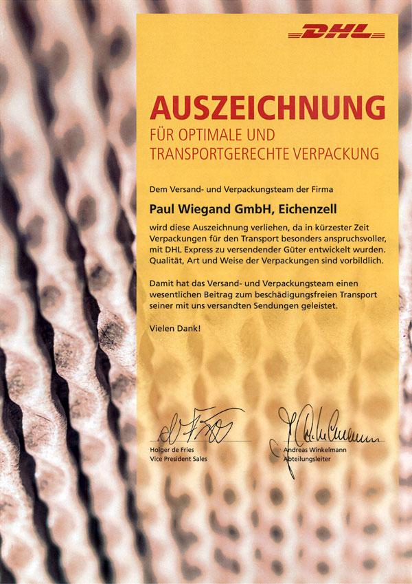 Paul Wiegand DHL Auszeichnung